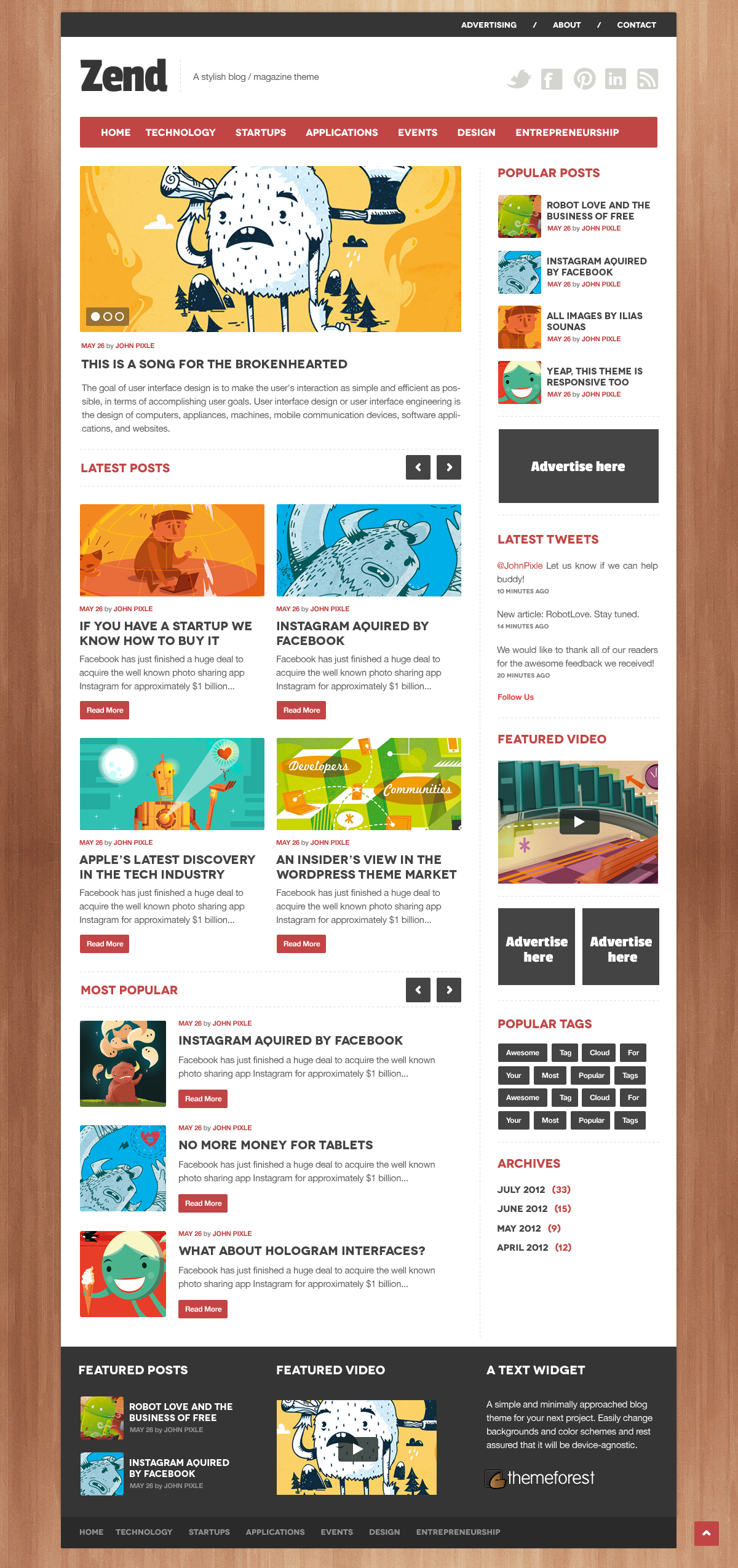 Zend - A stylish news/blog .psd theme