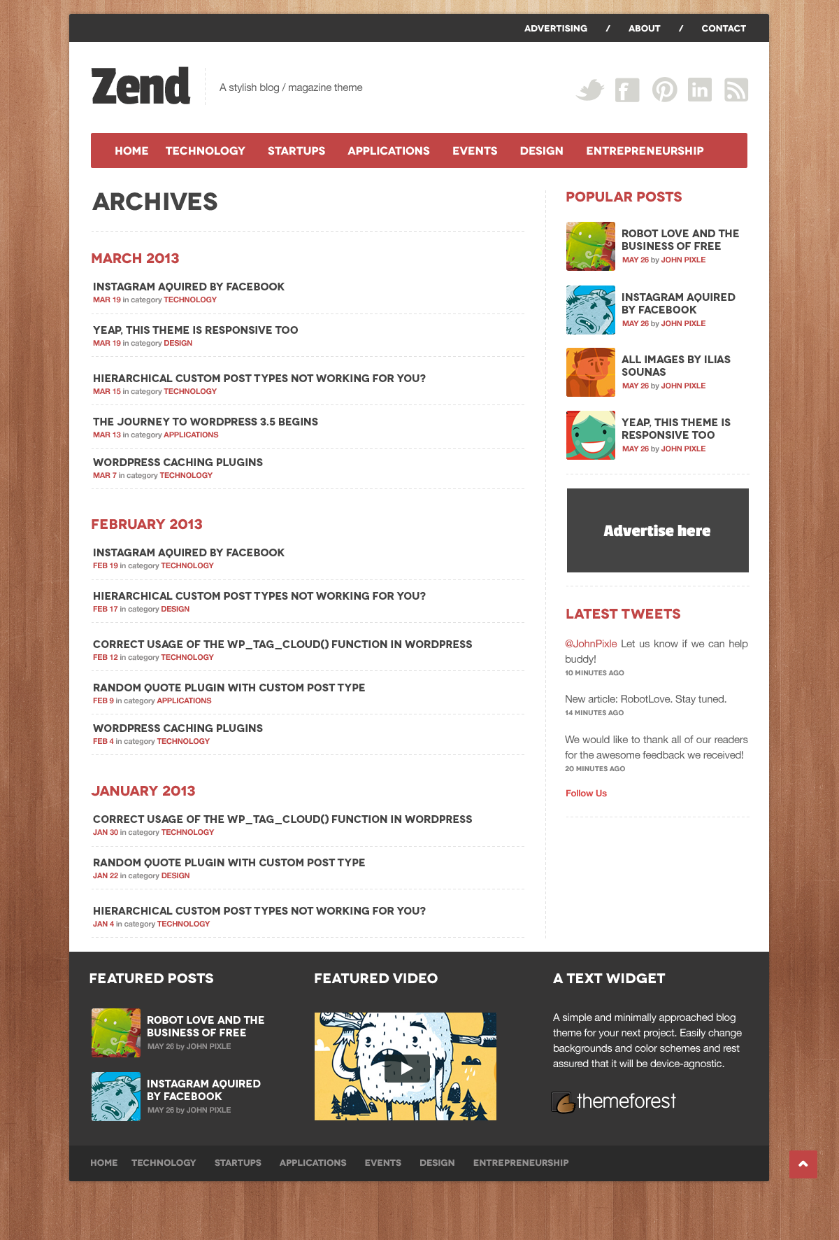 Zend - A stylish news/blog .psd theme