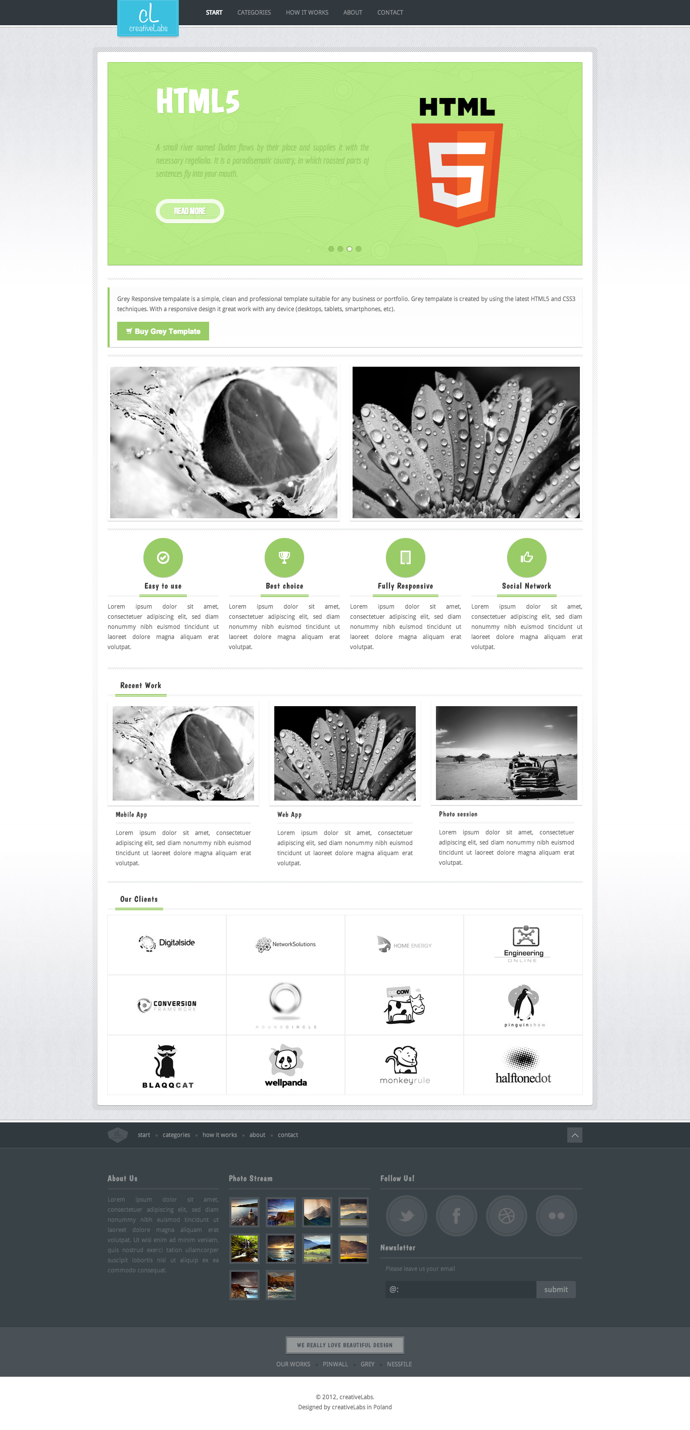 Grey HTML5 and CSS3 Responsive Template
