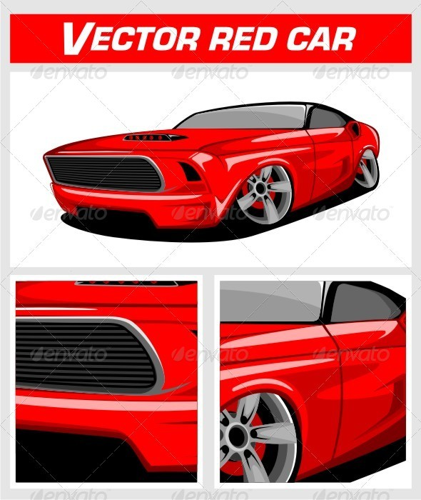 Vector Red Car - Man-made Objects Objects