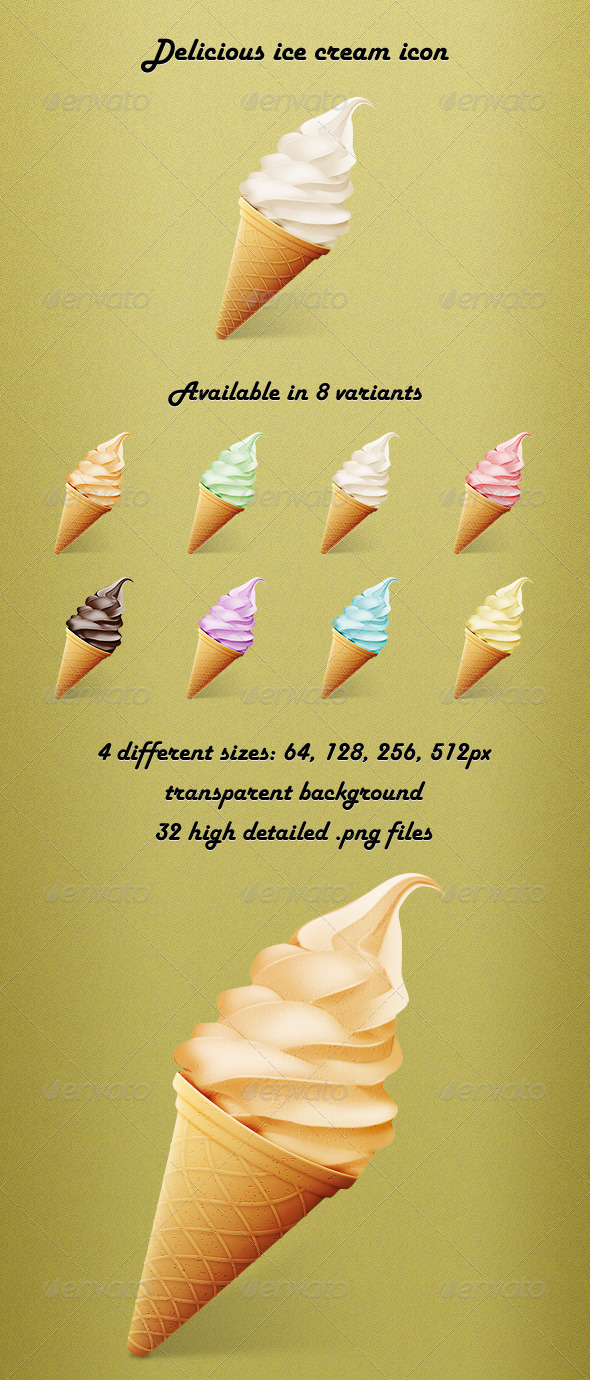 GraphicRiver Delicious Ice Cream Icon 3125164