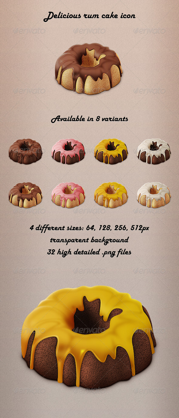 Delicious Rum Cake Icon - Food Objects