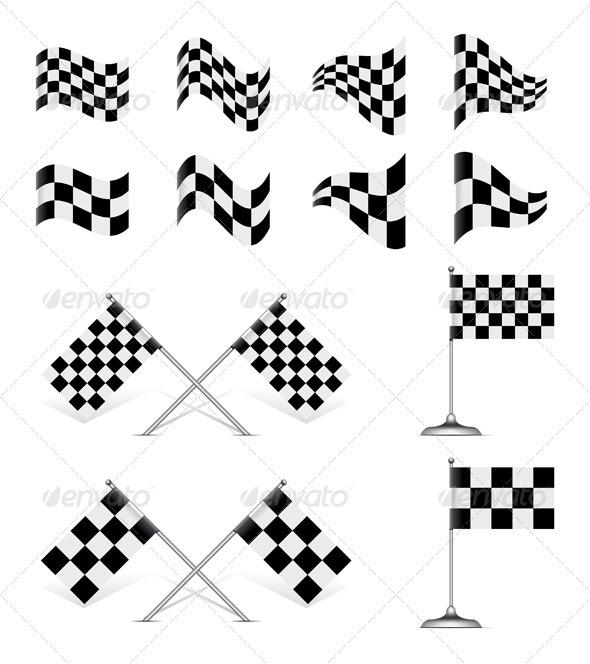 Vector Checkered Flags Set.