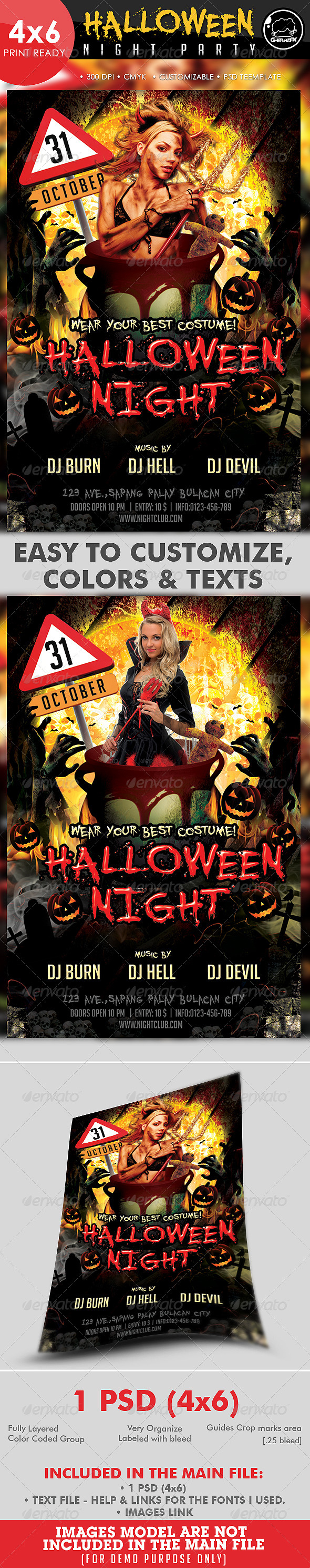 GraphicRiver Halloween Night Party Flyer Template 3102237