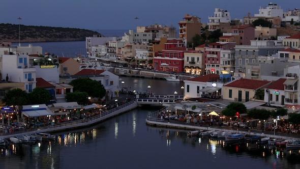 Lake Voulismeni Evening Scene Agios Nikolaos Crete