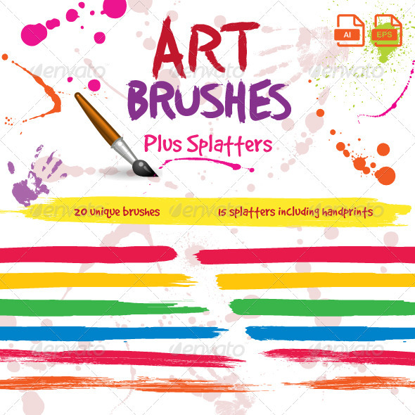 Paintbrush Art Brushes For Illustrator - Artistic Brushes