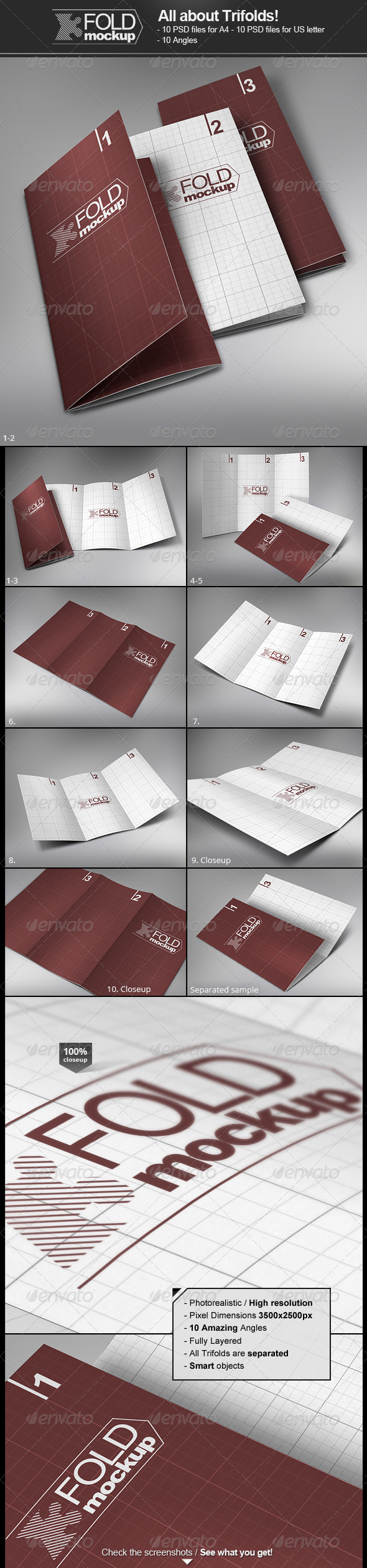 GraphicRiver Trifold Brochure Mock-Up 3068068