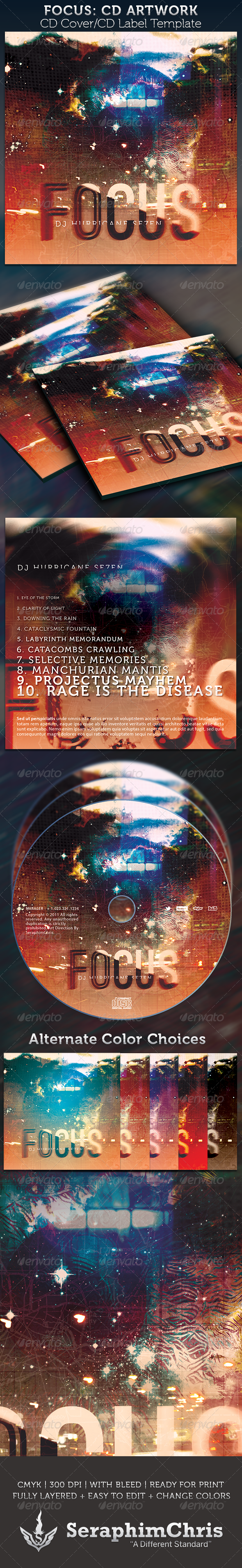 GraphicRiver Focus CD Cover Artwork Template 3128257