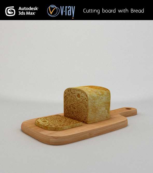 Cutting board with Bread - 3DOcean Item for Sale