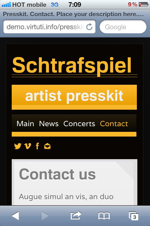 Presskit/Résumé for Artists + Mobile Version
