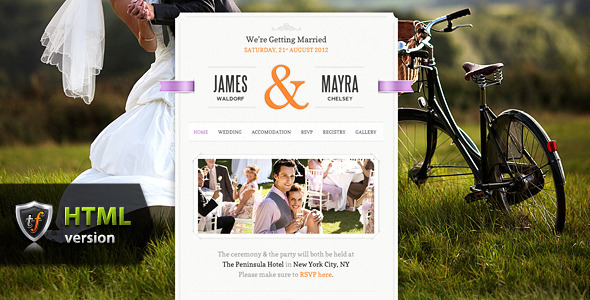 ThemeForest Just Married Wedding Event HTML Theme 3122319