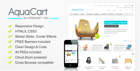 ThemeForest AquaCart a Premium Responsive OpenCart Template 2795944