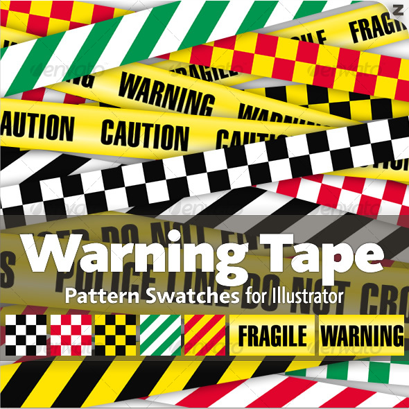 GraphicRiver 15 Warning Tape Pattern Swatches 50921