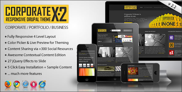 ThemeForest Corporate X Multipurpose Drupal 7 Theme 926653
