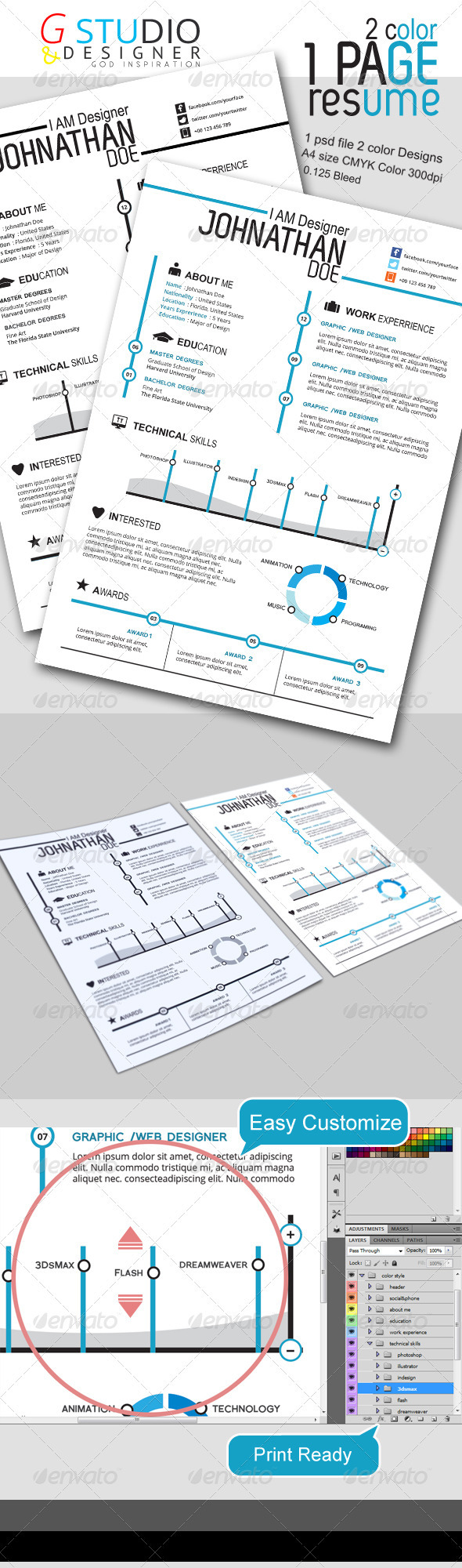Gstudio-2 Color One Page Resume - Resumes Stationery