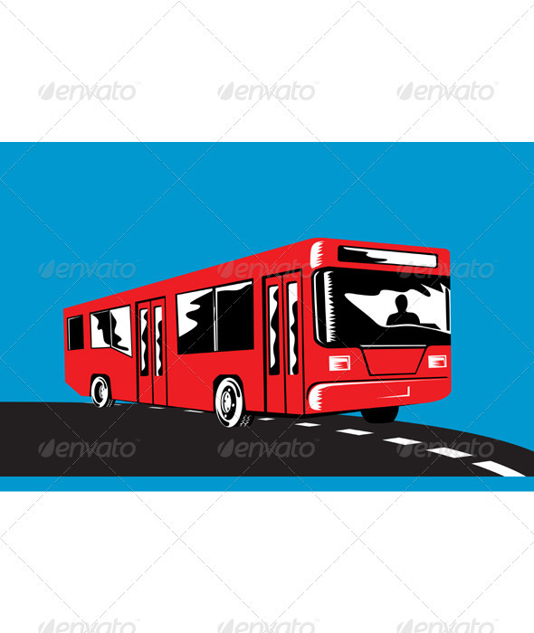 Coach Bus Shuttle Retro