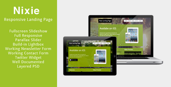 ThemeForest Nixie Responsive Landing Page 3117676