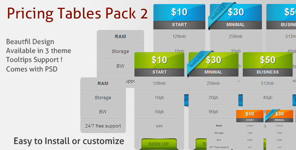 CodeCanyon Pricing Tables Pack 2 111136
