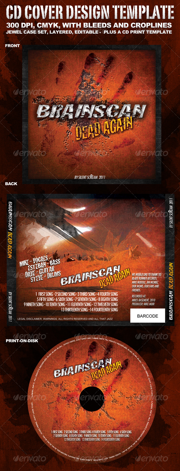 "CD Cover Template ""BrainScan"" - CD & DVD Artwork Print Templates"