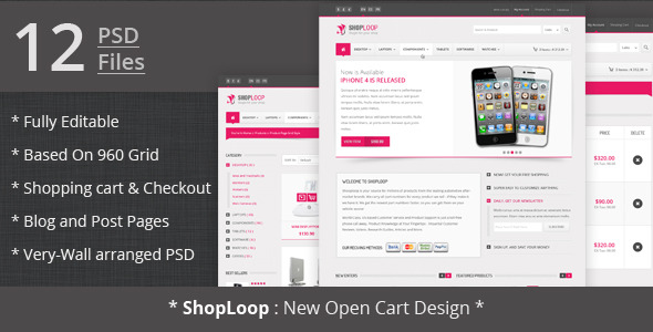 Shoploop: clean and modern open cart PSD