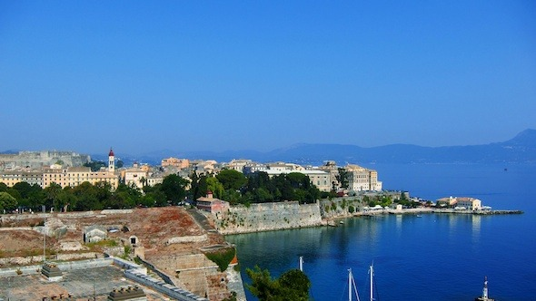 Aerial View of Old City During the Day Corfu Time Lapse