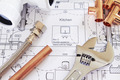 Plumbing Tools Arranged On House Plans - PhotoDune Item for Sale