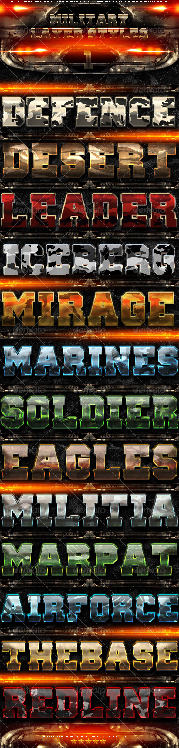 Military Photoshop Layer Styles 1 - Text Effects Actions