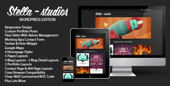 Stella Studios Responsive Wordpress Template - Creative WordPress