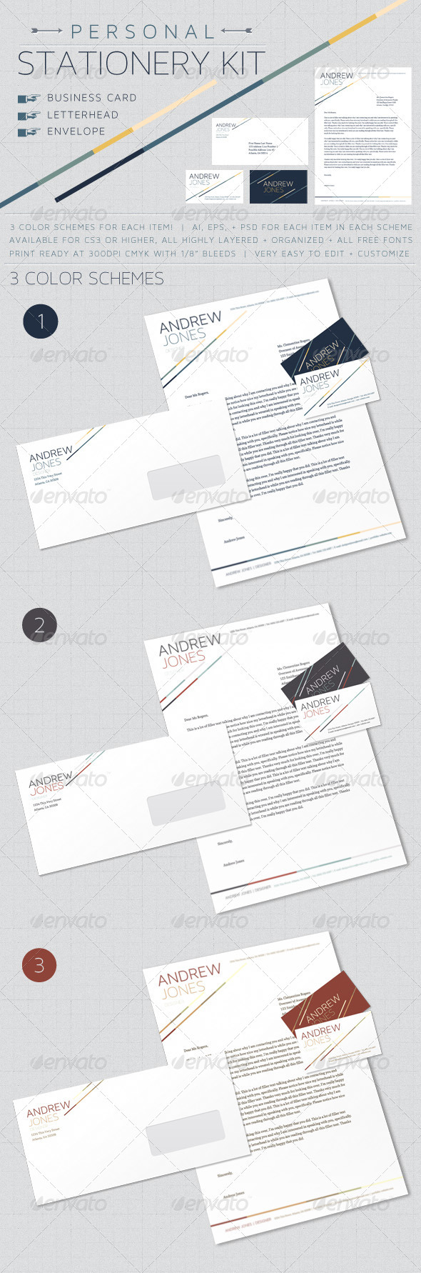 Personal Stationery Kit - Stationery Print Templates