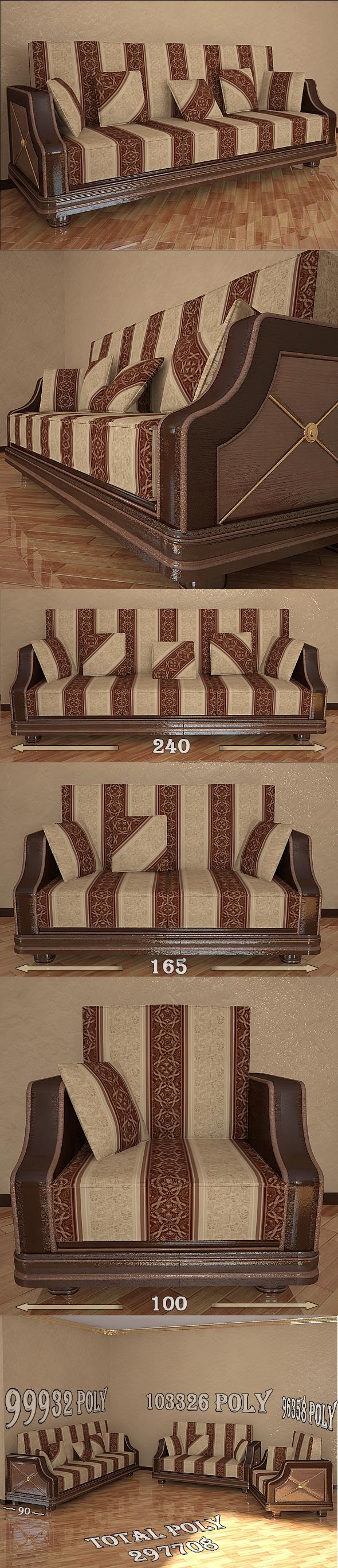 3DOcean Classical sofa set 111362