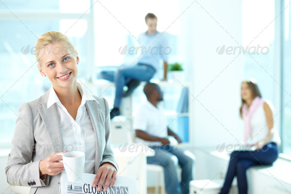 Cheerful blonde - Stock Photo - Images