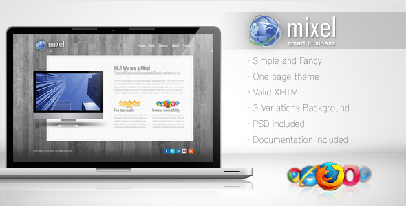 ThemeForest Mixel Simple One Page Template 111437