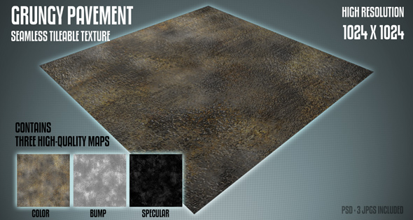 3DOcean Tileable Grungy Pavement Texture 111442