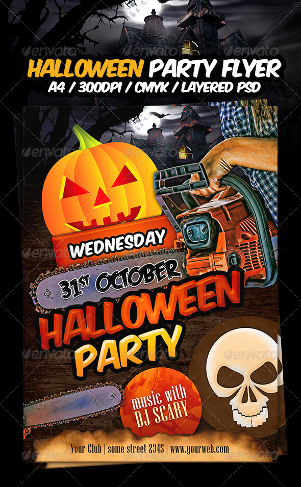 GraphicRiver Halloween Party Flyer Template 3129779