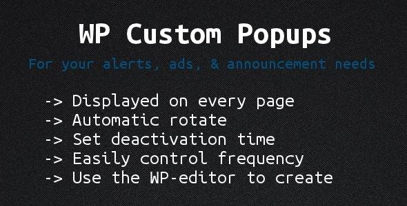 Wordpress Custom Popups - CodeCanyon Item for Sale