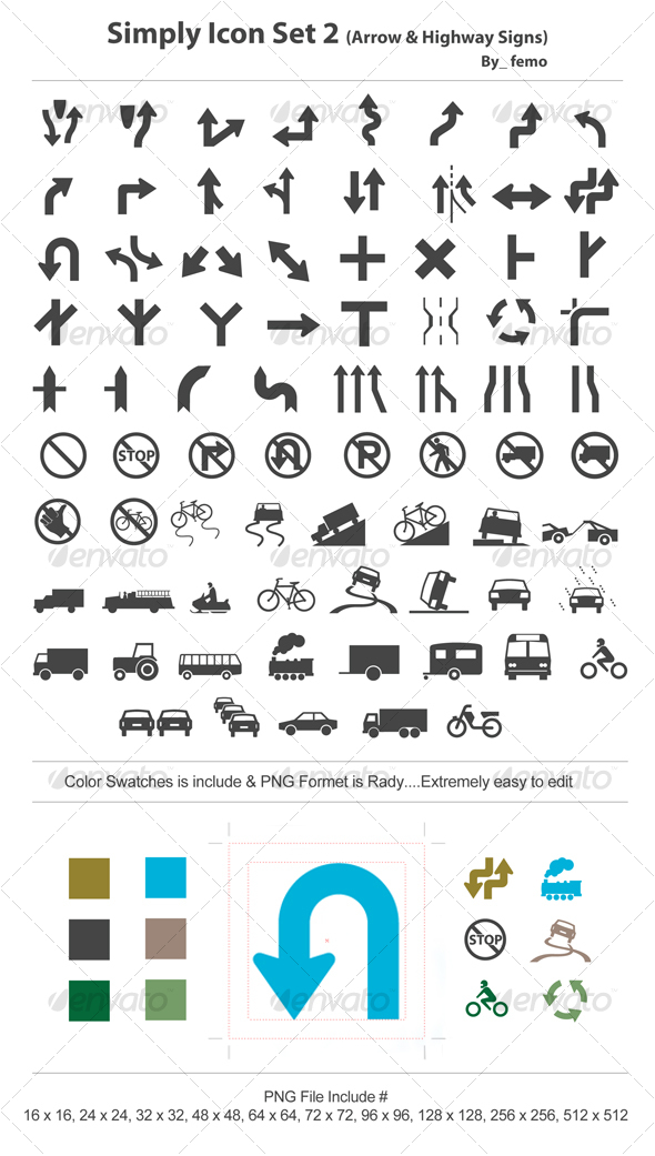 GraphicRiver Simply Icon Set 2 Arrow & Highway Signs 111455