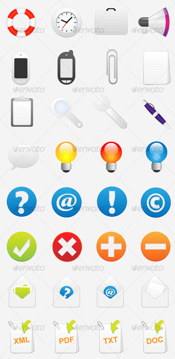 GraphicRiver Help FAQ and Support Vector Icons 111483