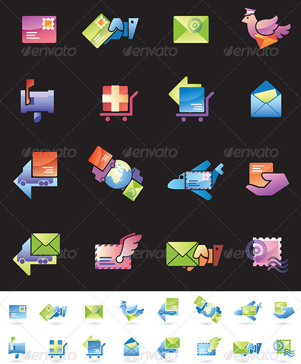 Shipping and Mail Delivery Icons Set
