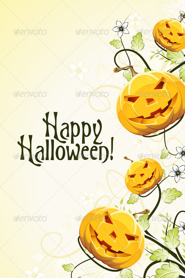 Abstract Halloween Background with Flowers - Halloween Seasons/Holidays