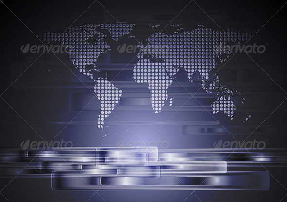 Abstract hi-tech background with world map - Technology Conceptual