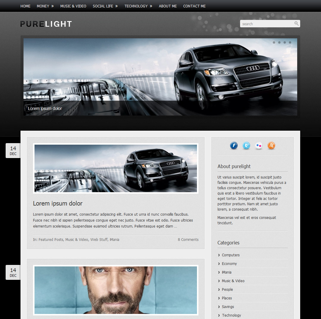 Purelight Wordpress Theme - Black style overview