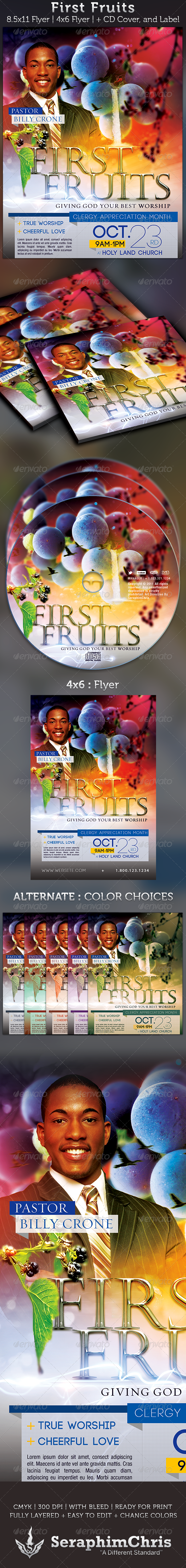 First Fruits Church Flyer and CD Cover Template