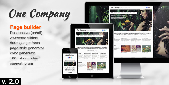 ThemeForest One Company Responsive Business WordPress Theme 3090450
