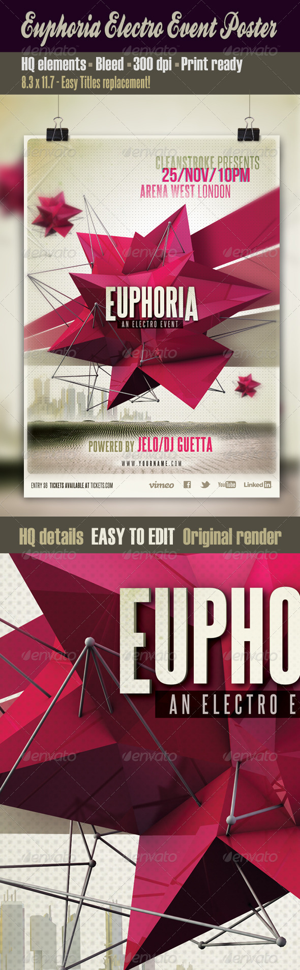 Euphoria Electro Event Poster - Clubs & Parties Events