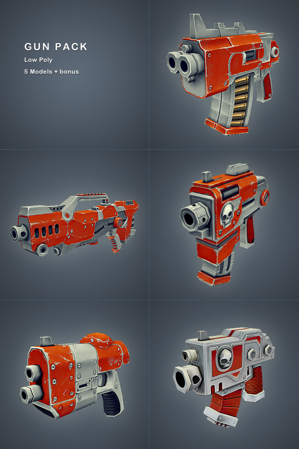 3DOcean Gun Pack Low Poly 3160165