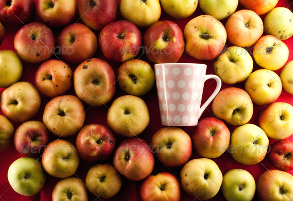 apple and teacup - Stock Photo - Images