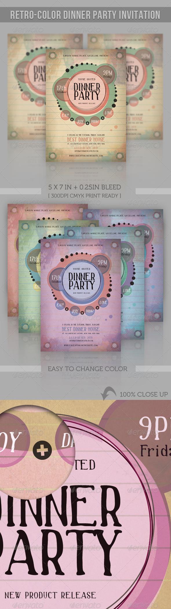 GraphicRiver Retro-Color Dinner Party Invitation 2973191