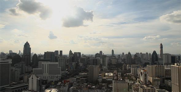 Pan Over Modern Bangkok City Skyline Day 2