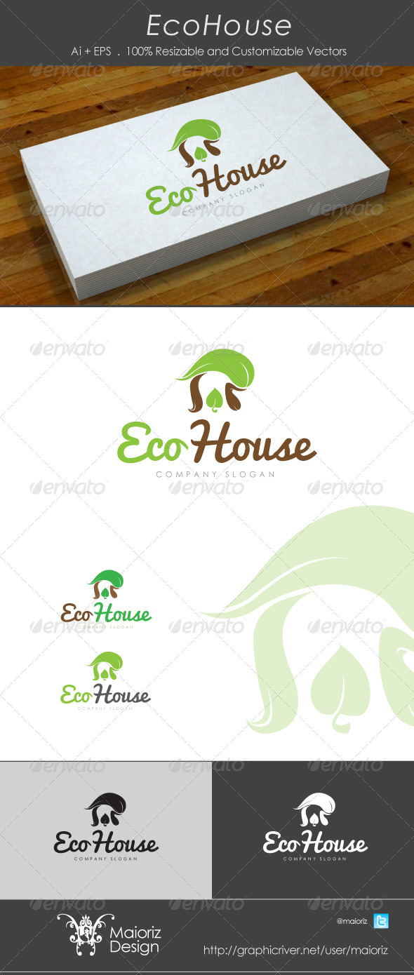 Eco House Logo - Vector Abstract