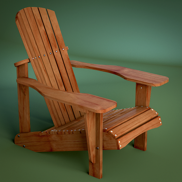 3DOcean Pine Wooden Outdoor Adirondack Chair 3166018